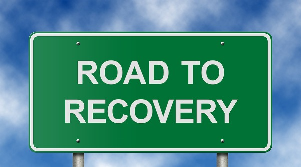 addiction road to recovery sign 6-14